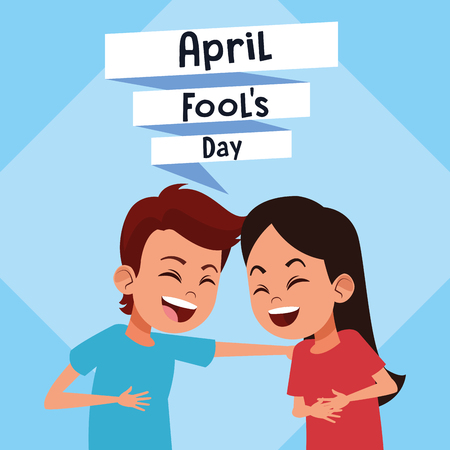 April fools day with kids cartoon vector illustration graphic design