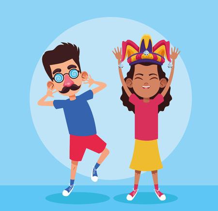 Poisson d'avril garçon et fille rire cartoon vector illustration graphic design