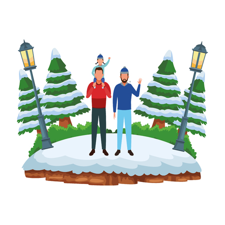 men and child avatar wearing winter clothes and knitted cap at snowing park vector illustration graphic design