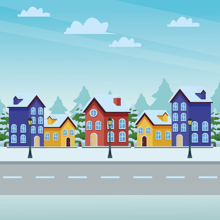 snow city landscape house and street vector illustration graphic design