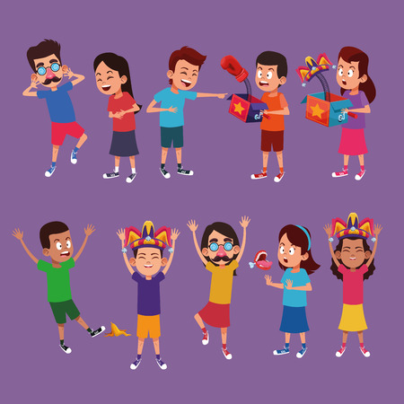 Kids laughing with jokes cartoons vector illustration graphic design