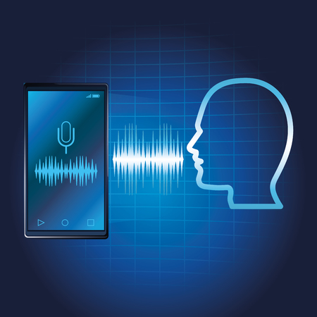 Smartphone voice recognition speaker over blue waves background vector illustration graphic design
