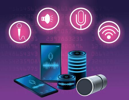 Smartphone voice recognition speaker round icons vector illustration graphic design Illustration