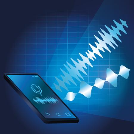 Smartphone voice recognition speaker over blue waves background vector illustration graphic design