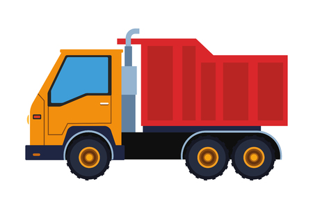 Construction vehicle cargo truck vector illustration graphic design