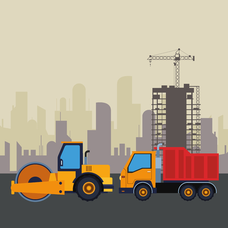 Construction vehicles steamroller and truck machinery in construction zone with crane scenery vector illustration graphic design