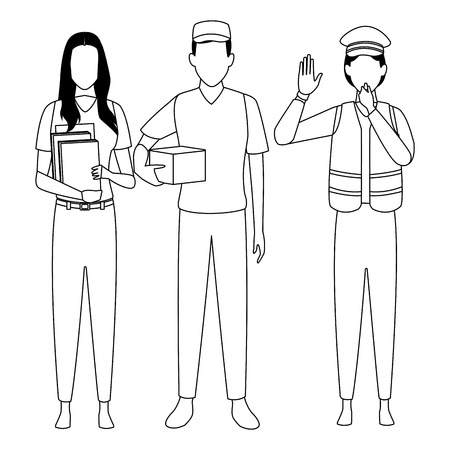 Jobs and professions professionals workers isolated vector illustration graphic design