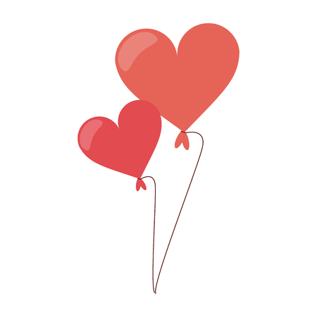 Heart shaped balloons isolated vector illustration graphic design