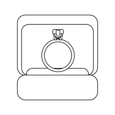 Wedding ring box cartoon isolated vector illustration graphic design Illustration