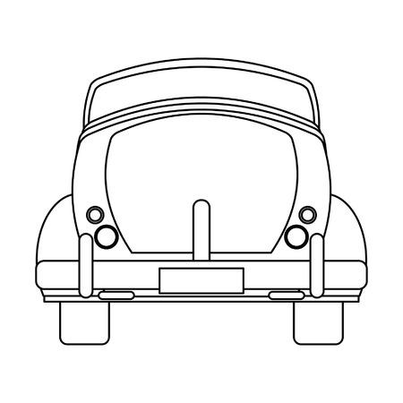 Vintage car cabriolet arrière véhicule vector illustration graphic design