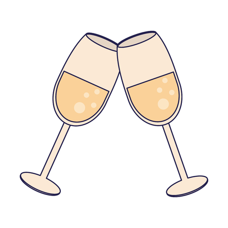 Champagne cups toast cartoon vector illustration graphic design