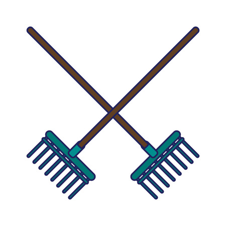 Garden rakes tools crossed icon ilustration vector