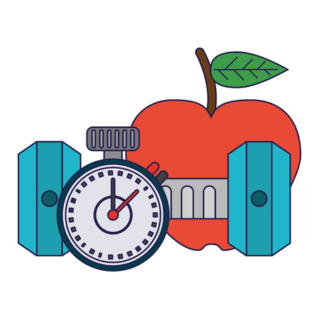 Healthy lifestyle and weight loss apple timer and dumbbell vector illustration graphic design 向量圖像