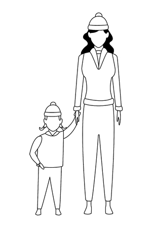 woman with child avatars wearing winter clothes and knitted cap black and white vector illustration graphic design