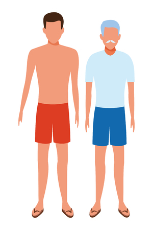 old man and young man avatar wearing summer clothes beard cartoon character vector illustration graphic design