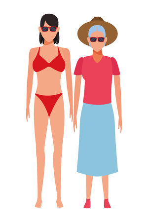 old woman and young woman avatar wearing summer clothes swimwear and sunglasses vector illustration graphic design