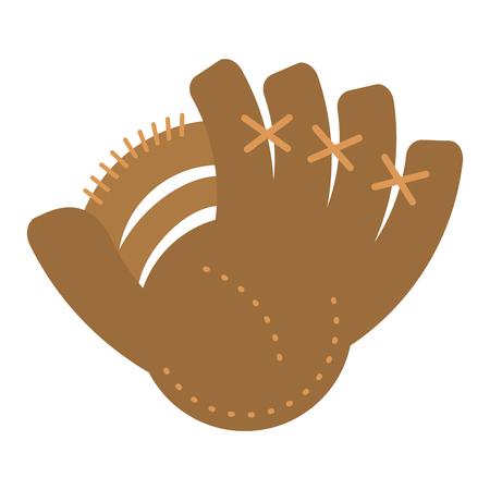 Baseball leather glove sport equipment vector illustration graphic design Ilustração