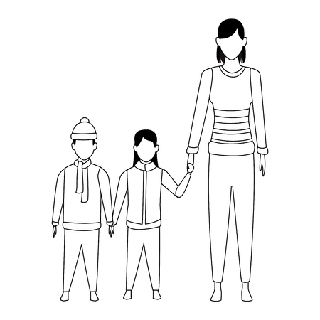 woman with children wearing winter clothes knitted cap and scarf black and white vector illustration graphic design