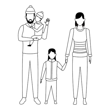 family avatar cartoon character couple and childreb wearing winter clothes black and white vector illustration graphic design
