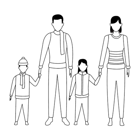 family avatars cartoon character wearing winter clothes black and white vector illustration graphic design