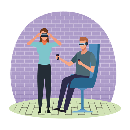 People playing with virtual reality glasses seated on chair in room Çizim