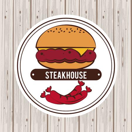 Steakhouse bbq restaurant poster wooden background Illustration