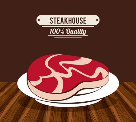 Steakhouse bbq restaurant poster icon ilustration