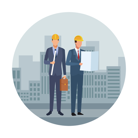 Construction teamwork avatar engineers with plans and briefcase checklist over cityscape scenery round icon vector illustration graphic design