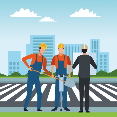 Construction workers tools and engineer boss checklist crossing zebra on street scenery vector illustration graphic design Ilustracja