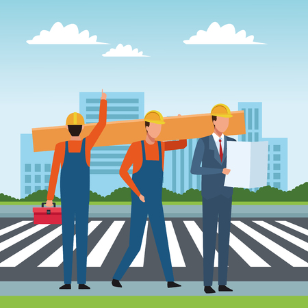 Construction workers tools and engineers checklist crossing zebra on street scenery vector illustration graphic design