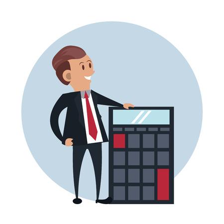 businessman with calculator cartoon round background vector illustration graphic design