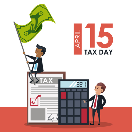 Tax day office symbols and business people cartoons vector illustration graphic design