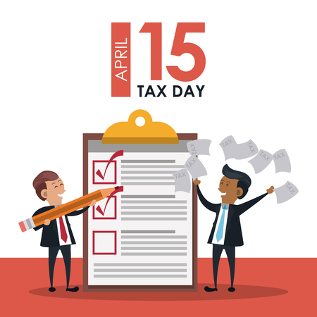 Tax day office symbols and business people cartoons vector illustration graphic design Vector Illustratie