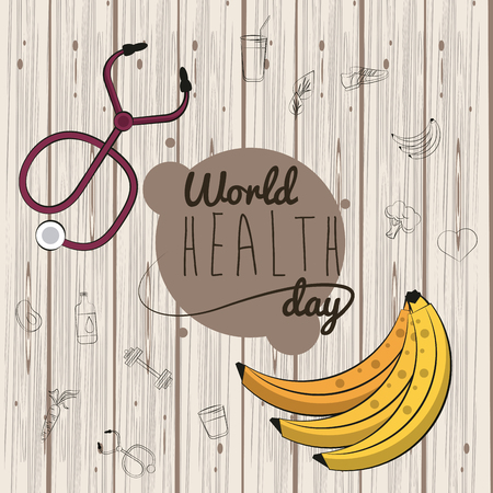 World healthy day card with fitness and healthy food doodle cartoons vector illustration graphic design