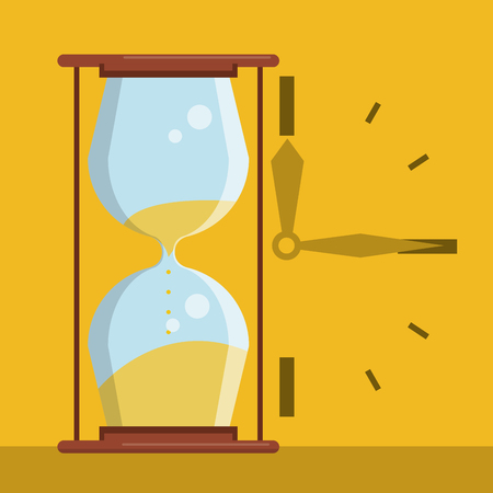 Hourglass and clock hands yellow background vector illustration graphic design