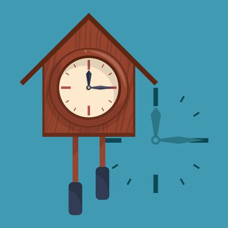 Wooden clock with bells blue background vector illustration graphic design Иллюстрация