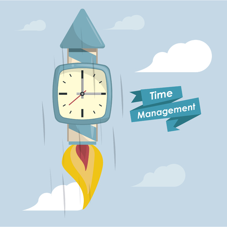 Time management concept and cartoons with ribbon banner vector illustration graphic design Stockfoto - 119321214