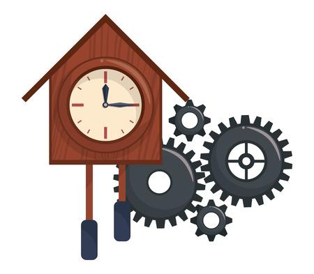 Wooden clock hoursebird with gears cartoon vector illustration graphic design Иллюстрация