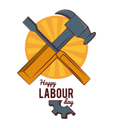 Happy labour day card hammer and screwdriver vector illustration graphic design