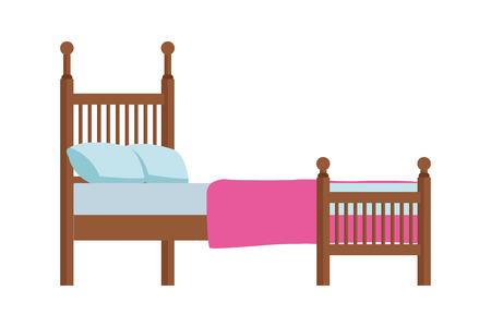 Diseño gráfico del ejemplo del icono del vector del tamaño de la reina de la cama