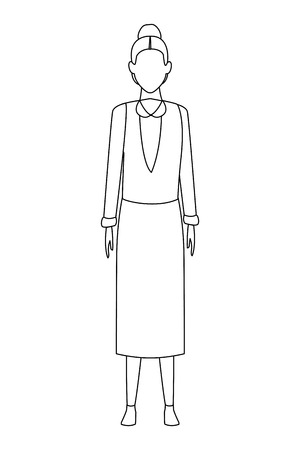 old woman wearing sweater and skirt cartoon character black and white vector illustration graphic design