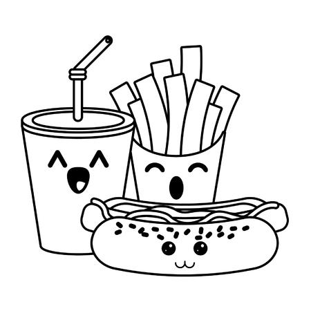 Fast food kawaii soda e patatine fritte con hot dog fumetto illustrazione vettoriale graphic design