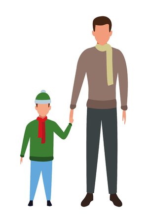 man holding hand with child wearing scarf and knitted cap vector illustration graphic design