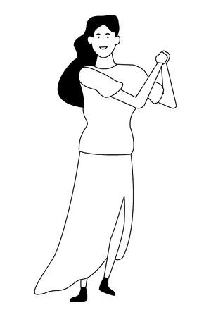 Happy woman dancing and smiling cartoon vector illustration graphic design Illustration