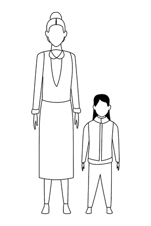 old woman with child wearing winter clothes black and white vector illustration graphic design
