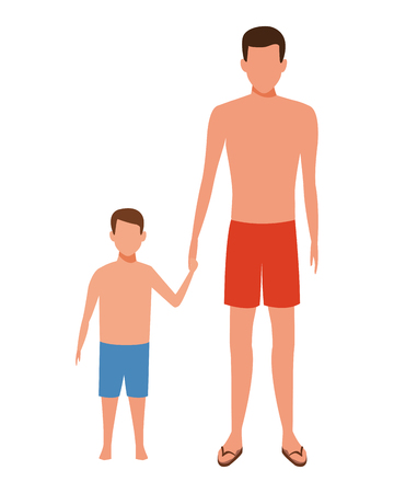 man holding hand child bathing shorts vector illustration graphic design