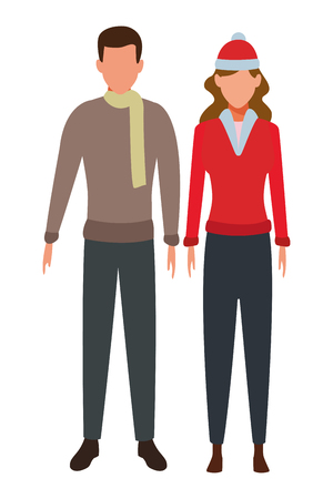 young couple avatars wearing winter clothes with knitted cap and scarf vector illustration graphic design