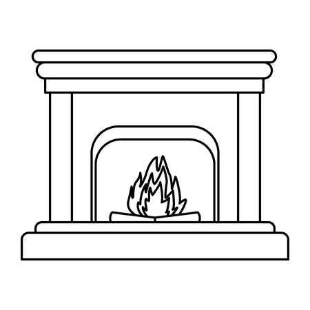 classic fireplace icon isolated black and white vector illustration graphic design