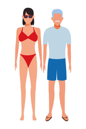 old man and young woman avatar wearing summer clothes vector illustration graphic design