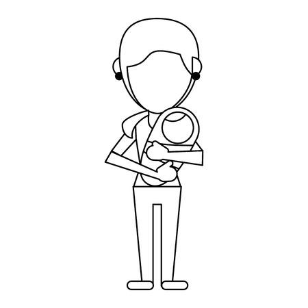 alleinerziehende Mutter mit Baby in den Armen gesichtslose Avatar-Vektor-Illustration-Grafik-Design